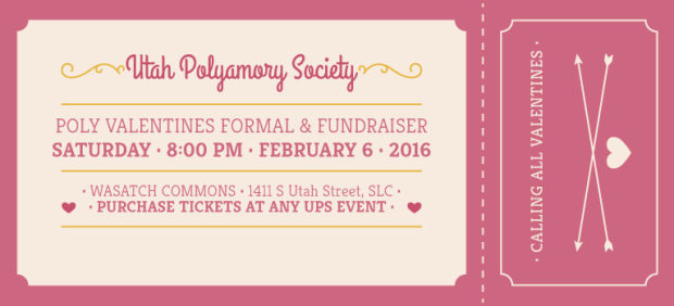 Utah Polyamory Society Poly Valentines Formal and Fundraiser on February 6 at 8 pm