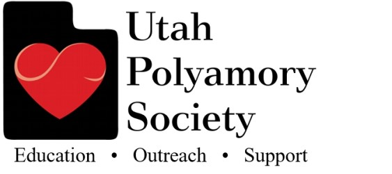 A red heart inside a black state of Utah is to the left of the words Utah Polyamory Society. Beneath that reads the words Education, Outreach, Support